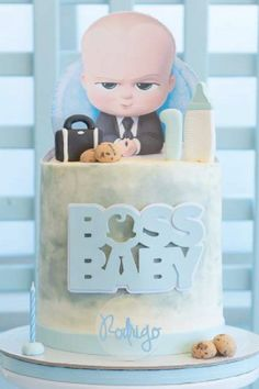As with most birthday cakes, this one too is designed to be a showstopper and take center stage on a dessert table. Topped with a cut-out Boss Baby and somefondant Boss Baby cake toppers,you couldn't wish for a cuter cake! See more party ideas and share yours at CatchMyParty.com Bridal Shower Cakes, Baby Shower Cakes, Baby Boy Shower, Baby Cake Topper, Boss Baby, Rustic Cake, Holiday Cakes, Gorgeous Cakes, 1st Birthdays
