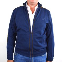 Paul & Shark collectie. Vest, midden blauw. 100% wol, met arm en schouderpads/stuk.