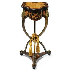 charles-guillaume diehl1811- d. circa 1885A RARE AND FINE COLD-PAINTED AND ENAMELLED COPPER MOUNTED FRUITWOOD INLAID tablePARIS, CIRCA 1878