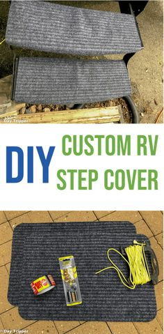 DIY RV Step Covers for $12. This simple hack will keep the dirt level down on your RV or Travel Trailer. Camping Hacks | 30 minute Project | RV Rugs