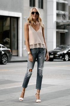 Fashion Jackson Blonde Woman Wearing Mango Blush Pink Camisole Levis Distressed Jeans