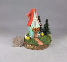 CUTE Handcrafted Miniature Fairy House  OOAK by O'Dare