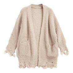 Open Front Ripped Cardigan With Pockets Light Khaki ❤ liked on Polyvore featuring tops, cardigans, pocket cardigan, pocket tops, ripped tops, pink cardigan and pink top