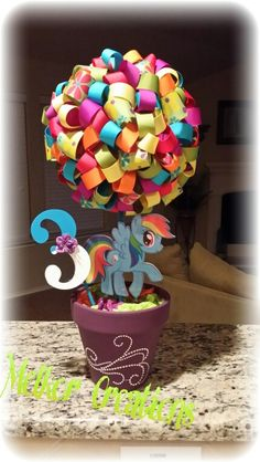 My Little Pony Centerpieces #mylittleponyparty #partydecor #centerpiece #mipequeñopony #centrodemesa #decoracion