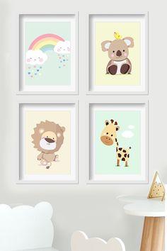 Pastellfarben und Tierbilder an der Wand machen jedes Kinderzimmer ein bisschen heller. #kinderzimmer #tierbilder #pastellfarben #wandgestaltung