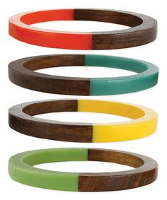 Another great find on #zulily! Brown & Turquoise Wooden Bangle Set #zulilyfinds