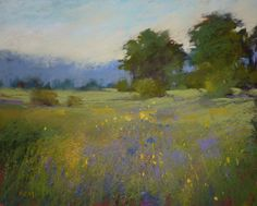 Landscape with Wildflower Meadow Original Pastel Painting Karen Margulis violet,yellow,green