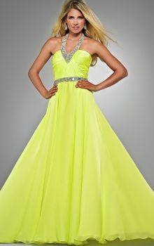 Yellow Long/Floor-length Chiffon Sequins Neon Prom Dress PD3945