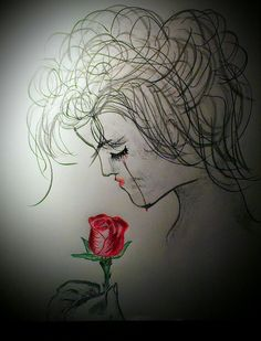 Red Rose tears~colored/charcoal pencils by Jaycien Bagwell 2013