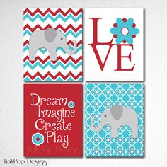 Nursery Wall DecorWall Art for KidsSet of 4 by HollyPopDesigns, $40.00