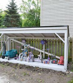 It's easy to install a new roof on a backyard structure like a shed, playhouse, or lean-to. Backyard Toys, Backyard Projects, Backyard Ideas, Garden Ideas, Diy Projects, Diy Playground, Natural Playground, Outdoor Bike Storage, Bicycle Storage