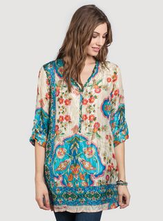 I ordered this Johnny Was tunic but it was too large and had to send it back. If you can find it in your size, get it and love it. Look around to see if you can find it. The colors are gorgeous. Wear it with a short sweater for fall lagenlook... and with the tunic hanging out. so pretty.