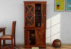 Crockery Unit In Bangalore - Buy Crockery Unit In Bangalore at Best Price. Shop From Wide Range of Modern Crockery Unit In Bangalore at Wooden Street Wooden Kitchen Cabinets, Kitchen Cupboard Designs, Bedroom Cupboard Designs, Crockery Cabinet, Dining Cabinet, Crockery Units, Solid Wood Kitchens, Cool Kitchens, Wooden Almirah
