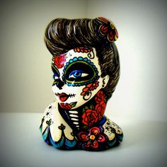 Pinup Girl Vase Glamour Girl Planter Colorful Tattoo Lady Head with Flowers Day of the Dead Red Roses Blue Bird Upcycled Hand Painted. $95.00, via Etsy.