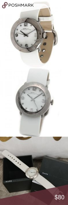 Marc by Marc Jacobs Ladies Watch White Marc by Marc Jacobs MBM1223 Ladies Watch Amy White Leather Strap Silver  Needs new battery!  Used* As is*  Adjustable band, fits up to 6.5 inches  Some wear shown in photos. Marc By Marc Jacobs Jewelry