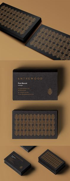 Sophisticated Black And Gold Patterned Business Card Design