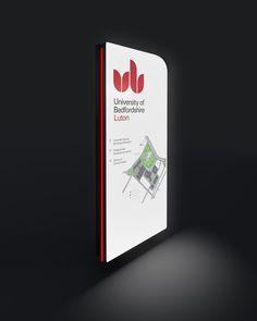University wayfinding, illuminated directional monolith #signs #mapping