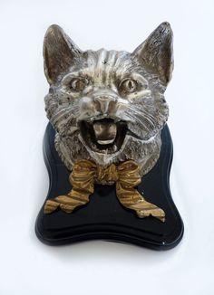 Antike Katze Kopf Inkwell, viktorianischen Cat, Cat Lover, Gold Bug, Katze Sammlerstück