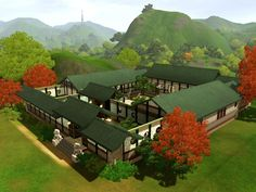 Mod The Sims - Chinese Courtyard House Atrium House, Courtyard House Plans, Front Courtyard, House Floor Plans, Bamboo In Pots, Bamboo House, Japanese Castle, Japanese House, Traditional Chinese House