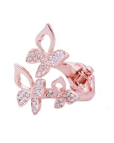 Stone Butterfly Hinge Ring - VR0047-ROSE GOLD