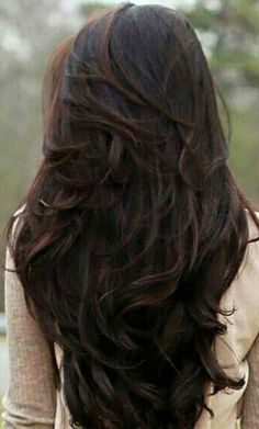 Long Dark Chocolate-Brown Wavy Hair with Layers in a V Shape