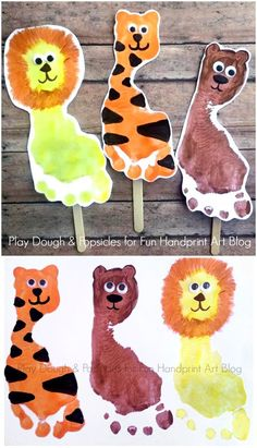 Lions, Tigers, & Bears Footprint Craft for Kids. Excellent preschool craft for Wizard of Oz or the Zoo. Kids Crafts, Easy Toddler Crafts, Daycare Crafts, Toddler Art, Baby Crafts, Preschool Crafts, Projects For Kids, Daycare Rooms, Jungle Crafts