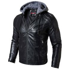 Men Hooded Leather Jackets Winter Warm PU Coats Male Outwear Casual Slim Leather Jackets Men Fur Solid Fit Leather Jackets Color Black Size S Formal Winter Outfits, Casual Winter Outfits, Men Casual, Leather Jacket With Hood, Faux Leather Jackets, Pu Leather, Leather Coats, Jacket Style, Jacket Men