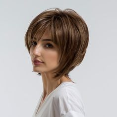 Short Side Bang Colormix Layered Straight Synthetic Wig - All For Hair Color Trending Short Side Bangs, Short Hair With Bangs, Short Straight Hair, Wigs With Bangs, Short Hair Cuts, Pixie Cuts, Bob Hairstyles For Fine Hair, Layered Bob Hairstyles, Lob Hairstyle