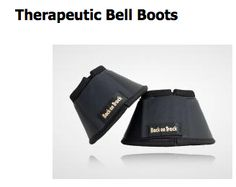 Therapeutic Bell Boots Provide Gentle Warmth Therapy to Your Horse's Hooves.  Our unique Welltex ceramic infused material reflects your horse's own body heat resulting in increased blood flow to horse's hooves. For stall use only.   Neoprene with faux leather exterior.  http://www.backontrackproducts.com/Horse-Products/Horse-Knee-Hock-Bell-Boots/Therapeutic-Bell-Boots-p316.html