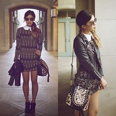 Jeffrey Campbell Boots, Sheinside Dress, Sheinside Leather Jacket, The Editor's Market Studded Satchel