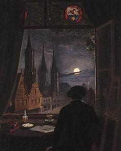 Domitor Invictus Caspar David Friedrich - An Artist In His Studio Contemplating A Moonlit Street From His Opened Window Inspiration Art, Art Inspo, Art And Illustration, Art Noir, Renaissance Kunst, Arte Obscura, Classical Art, Nocturne, Aesthetic Art