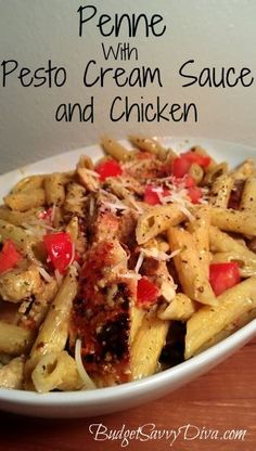 Penne with a Creamy Pesto Sauce and Chicken Recipe