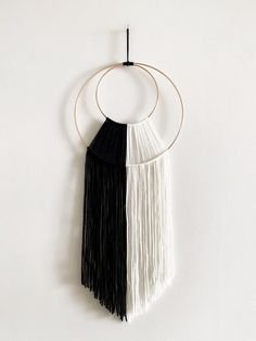 """Black and white to go with any room :)Wall hanging is 26"""" in length Handmade Wall Hanging, Yarn Wall Hanging, Wall Hangings, White Nursery, Boho Designs, Felt Ball, Macrame Patterns, Diy Craft Projects, Hoop"""