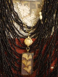 """Items similar to Botanical Resin Necklace - OOAK Pendant Featuring Hand Pressed Wisteria and Vintage Gold Watch """"Marking the Ages"""", Free U. Shipping on Etsy Vintage Gold Watch, Vintage Moon, Jewelry Design, Unique Jewelry, Brass Chain, Wisteria, Antique Brass, Vintage Outfits, Resin"""