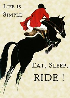 If only it was this simple!  Mine is like eat, sleep, run, work, take care of dogs, clean house, hang with friends, oh and ride!