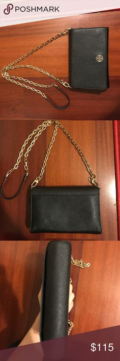 Tory Burch Robinson Chain Wallet Well-loved chain wallet. Holds loads of cards, cash, a phone, and lip gloss. Great for travel! Some signs of wear along the hardware and crease of the flap. See photos, and please message me with questions! Happy to consider any offer made through the offer button! :) Tory Burch Bags Crossbody Bags