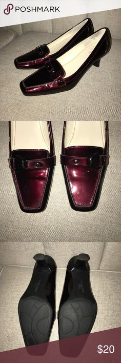 EUC Anne Klein Patent Leather Sq Toe Loafers Sz8 Pumps by Anne Klein are a fashionable wardrobe essential Size 8  Gleaming patent leather loafers boast an ultra chic squared toe Women's footwear features updated styling with strap and buckle detailing Ideal for the office, a night out or paired with your favorite jeans Features padded footbed and accent topstitching Heel measures 2-inches Anne Klein Shoes Heels