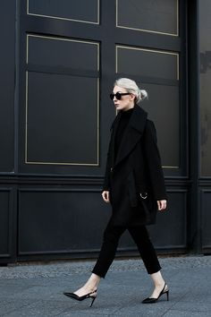 All-black monochrome minimal outfit with Lala Berlin tailored coat, cropped frayed denim jeans, slingback heels  // noanoir.com
