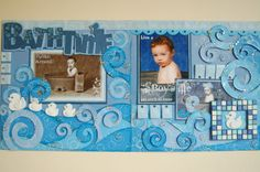 boy bathtub layout by Jamie Penson.... love the mosaic-look tiles around the duck!.... used only cardstock on layout....techniques used were heat embossing, mosaics, 3D popping for the water and glazing of the bubbles