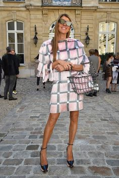 Anna Dello Russo wears Marco De Vincenzo's check print top and skirt at Paris Fashion Week. // #PFW #SS15