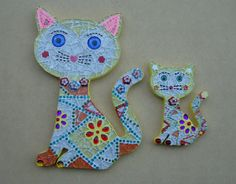 Talavera Cats Mosaic Wall Art Large by zzbob on Etsy, $45.00