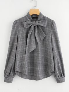 SheIn offers Bow Tie Neck Plaid Blouse & more to fit your fashionable needs. SheIn offers Bow Tie Neck Plaid Blouse & more to fit your fashionable needs. Bluse Outfit, Hijab Outfit, Hijab Casual, Ootd Hijab, Muslim Fashion, Hijab Fashion, Mens Fashion, Blouse Styles, Blouse Designs
