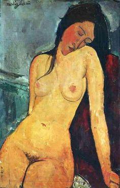 Sentada desnuda (Seated Nude) Artist: Amedeo Modigliani 1916 oil on canvas 92 × 60 cm × in) Courtauld Institute of Art Amedeo Modigliani, Modigliani Paintings, Canvas Art Prints, Oil On Canvas, Mini Canvas, James Ensor, Infinite Art, Social Art, Edgar Degas