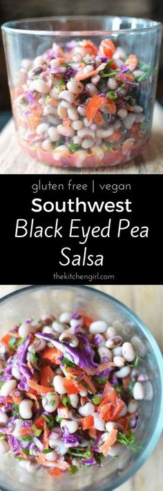 Wow! Mexican bean salsa with black eyed peas and ALL the veggies! Southwest Black Eyed Pea Salsa on thekitchengirl.com #cowboycaviar #texascaviar #newyearsday #beansalad #cilantrolime #beansalsa
