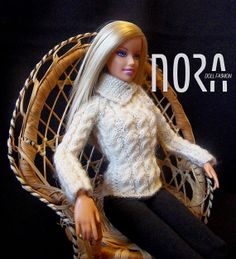 Turtleneck cable knitted sweater for Barbie