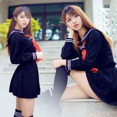 """Color:white. black. Kit includes:shirt + skirt + scarf + stockings. Size:S.M.L.XL. Size S: Clothes length:51cm/19.89"""".Bust:82cm/31.98"""".Waist:64cm/24.96"""".Shoulder:37cm/14.43"""".Skirt length:35cm/13.65""""."""