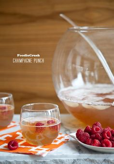 Champagne Punch: 1 cup triple sec or Grand Marnier 1 cup brandy cup Chambord, or other raspberry flavored liquor 2 cups unsweetened pineapple juice 1 quart chilled ginger ale 2 chilled ml) bottles dry Champagne 2 cups raspberries Cocktails, Party Drinks, Cocktail Drinks, Fun Drinks, Yummy Drinks, Cocktail Recipes, Alcoholic Drinks, Beverages, Brunch Drinks