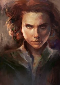 Black Widow digital painting by chickensaredoodling