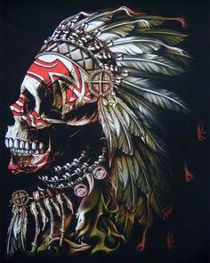 Skulls n Skeletons Native Art, Native American Art, Indian Skull Tattoos, Indian Chief Tattoo, Arte Dope, Beautiful Dark Art, American Tattoos, Skull And Bones, Tattoo Sketches