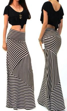 Women asymmetric High Waist Striped skirt